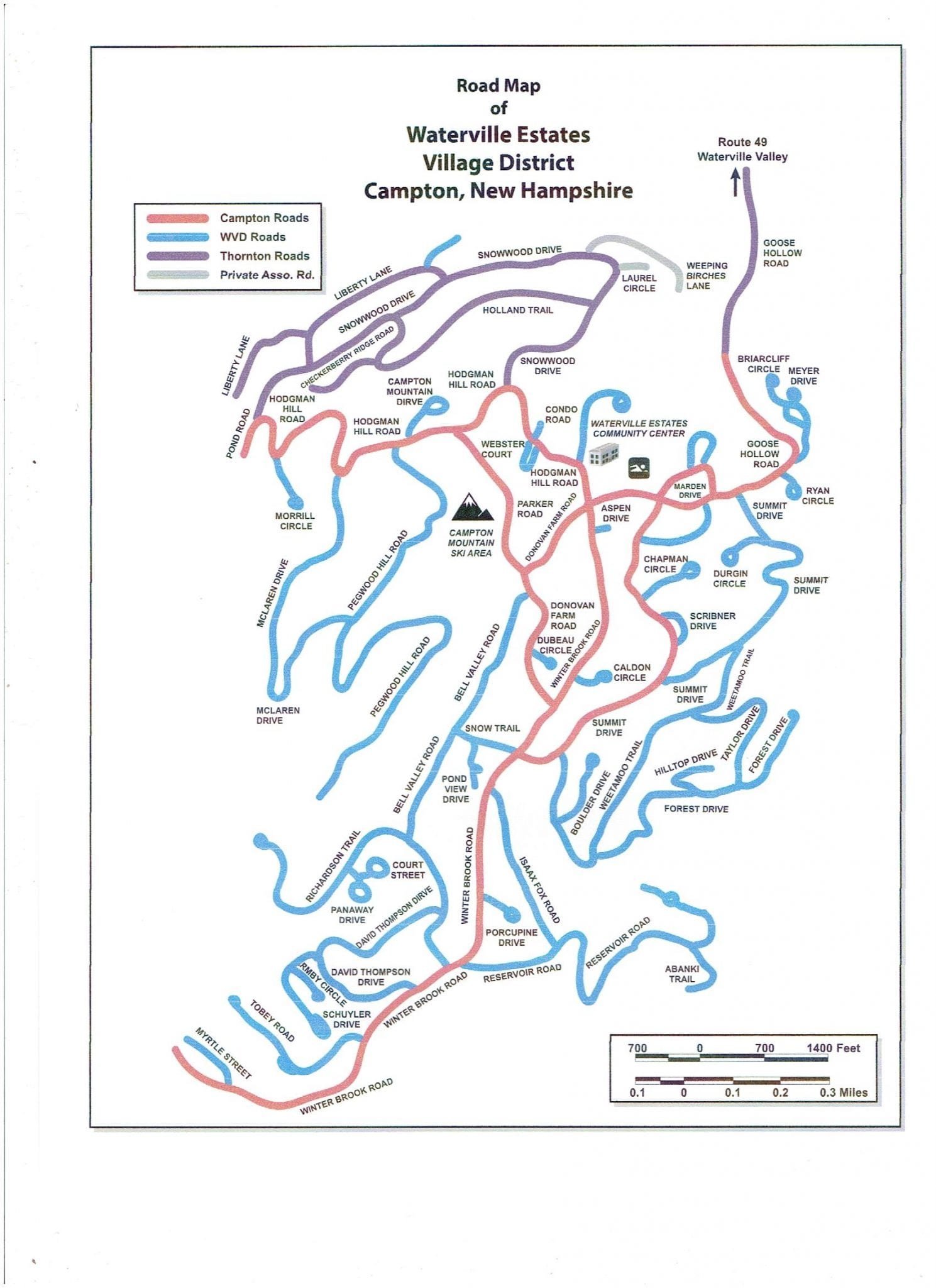 WEA Road Map Waterville Estates - Road map of nh